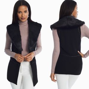 WHBM Removable Faux Fur Collar Sweater Vest XL
